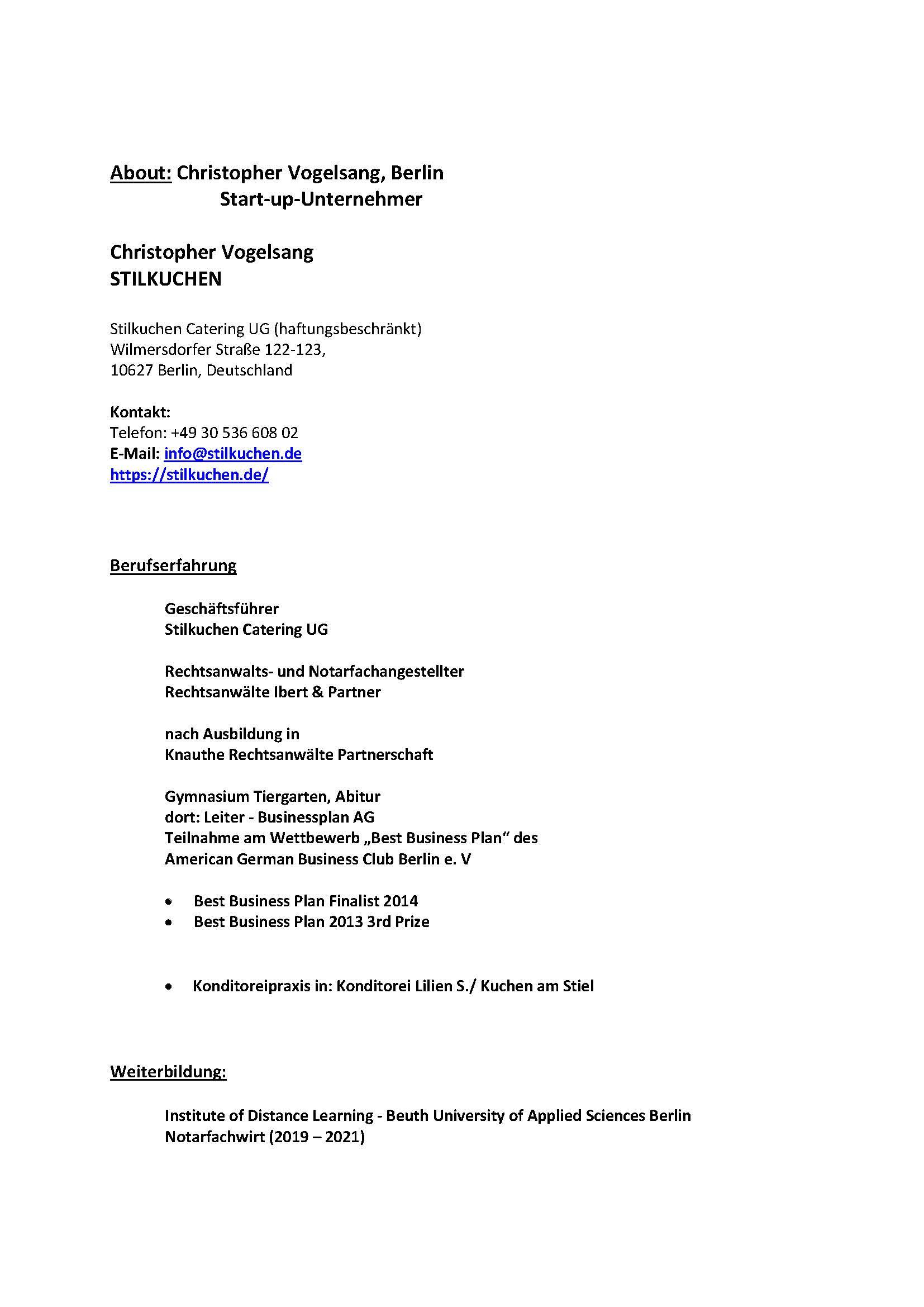 About Christopher Vogelsang - Berliner Stilkuchen